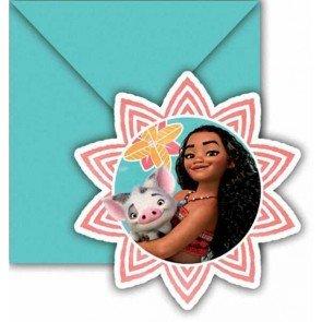 6 cartes d'invitation Vaiana avec enveloppes, anniversaire disney de filles