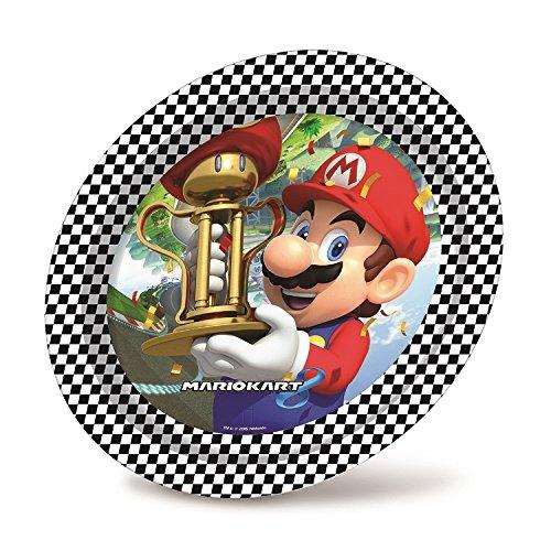 8 assiettes Super Mario Kart en carton 23cm, anniversaire garçon