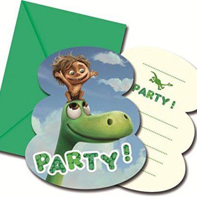 6 cartes d'invitation Le Voyage d'Arlo, anniversaire dinosaure