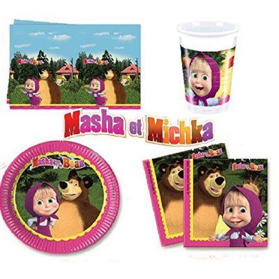 Kit anniversaire Masha et Michka pour 8 enfants, anniversaire fille