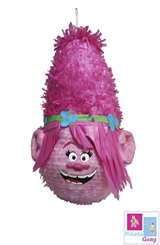 Piñata Trolls Poppy, piñata faite à la main représentant la tête de poppy