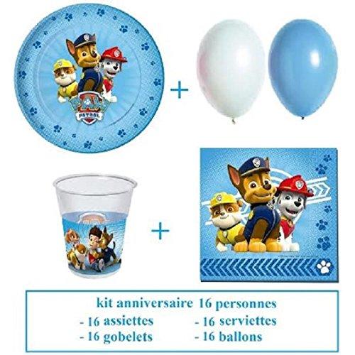 kit anniversaire Pat Patrouille pour 16 enfants