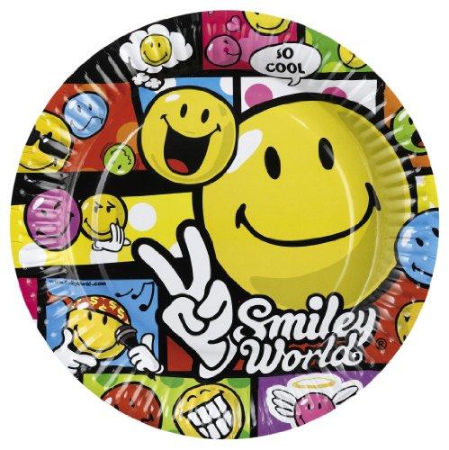 8 Assiettes Smiley Comic - 23 cm, anniversaire smiley pour ados