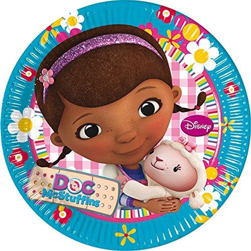 Assiettes anniversaire Docteur la Peluche pour fille de 4 ans
