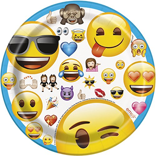 Assiettes en carton Emoji 18 cm