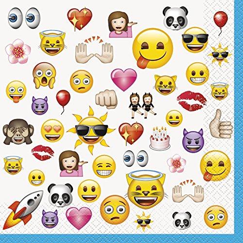 Serviettes en papier motif emoji, anniversaire smiley pour adolescents