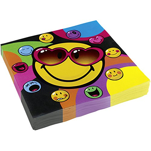 20 Serviettes Smiley Express - 33 x 33 cm, anniversaire smiley