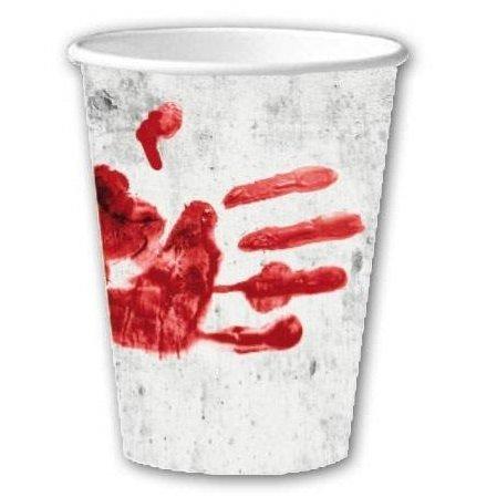 Lot de 10 gobelets empreintes de sang pour Halloween