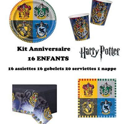 Kit anniversaire Harry Potter pour 16 enfants, vaisselle jetable anniversaire