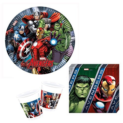Kit anniversaire Avengers pour 8 enfants, vaisselle jetable anniversaire