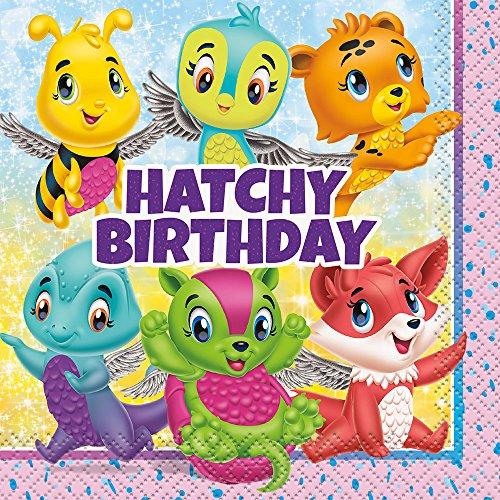 Serviettes en papier Hatchimals, décoration de table d'anniversaire fille