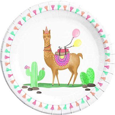 Assiette 23 cm lama, vaisselle jetable pour anniversaire
