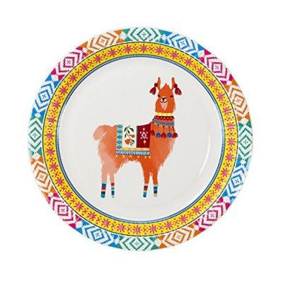 Assiettes Boho Lama, deco de table de fête, vaisselle jetable pas chère