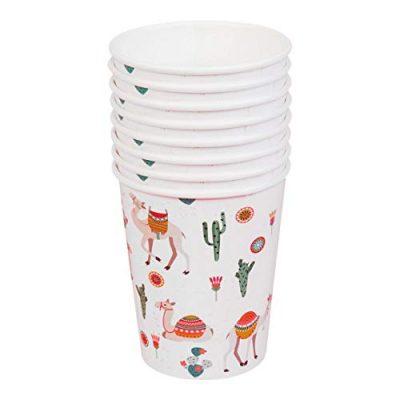 8 gobelets en carton Lama et Cactus