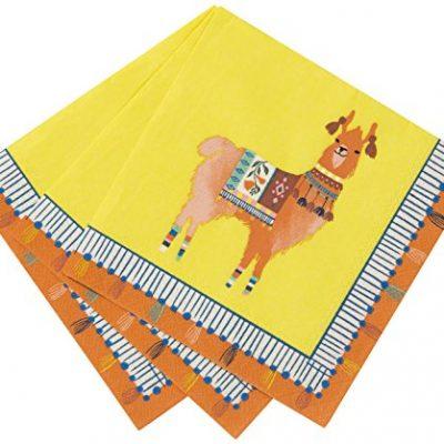 Serviettes en papier boho Lama, déco de table pour soirée péruvienne